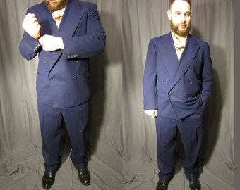 1940s Men's Felt Wool Suit Richard Bennett NYC / Double Breasted /1945/ Hand Tailored / Peaked Lapels / Navy Blue / Double Pleated Pants