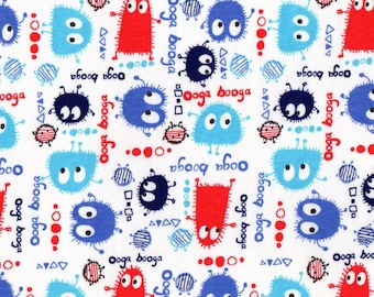 PATRIOTIC Ooga Booga, Cotton/Lycra Jersey Knit Fabric, 1/2 yard