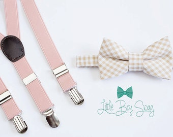 Beige Checkered Bow Tie with Blush Suspenders, Ring Bearer Outfit, Boys Bow tie Suspenders Set, Boys Wedding Outfit, Cake Smash Outfit, Boys