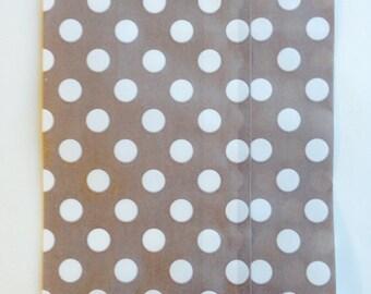 25 Khaki Polka Dot favor bags / Treat Bags / Wedding Favor Bags / Birthdays / Party Favor Bags / Polka Dot Paper Treat Bags / Bakery Bags