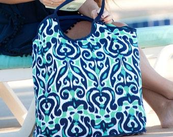 Monogram Beach Bag | Blue Beach Bag | Monogram Pool Bag | Pretty Beach Bag | Summer Bag | Oversized Beach Bag | Cruise Bag