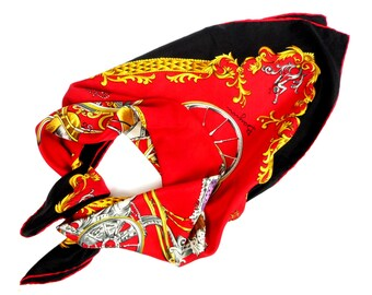 Bayron Silk Scarf ''Voitures du XVI eme Siecle'', Carriages  and Crowns Printed Scarf, Baroque Style Scarf, Silk Foulard