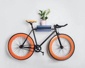 Amsterdam - Bike wall mount / wall stand for bike storage / wooden bike shelf / Blue