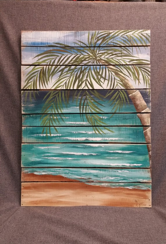 Items similar to Beach Pallet art, greenery, Hand painted ...
