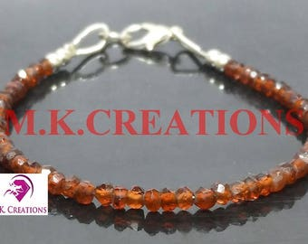 30% Off, Natural Mozambiq Garnet Gemstone Faceted Rondelle Beads Bracelet, Dainty Bracelet, 925 Silver Filled Mozambiq Garnet Beads Bracelet
