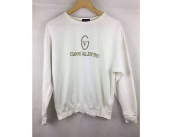 GIANNI VALENTINO Large Size Sweatshirt With Big Spell Out Golden Embroiled Logo
