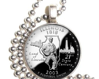 Illinois Art Pendant, Earrings and/or Keychain, USA Quarter Dollar Image, Round Photo Silver and Resin Charm Jewelry