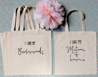 Set of 3 Bridesmaid Tote bags and 1 Matron of Honor