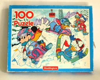 Mickey Mouse Donald Duck Walt Disney Jigsaw Puzzle - Vintage Retro Huey Dewey and Louie by Waddingtons - Made in Great Britain Complete!