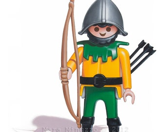 """Playmobil Toy Art - 'Medieval Archer', 5"""" x 7"""" Archival Giclee Print, classic toy"""