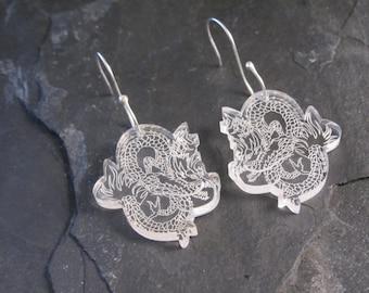 Dragon perspex earrings with handmade sterling silver earwires
