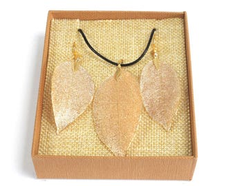 Necklace & Earring Set - Bravery Leaf - Gold is available