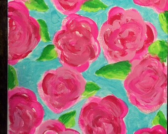 Lilly Pulitzer inspired first impressions floral canvas