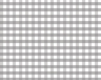 Gray Medium Check Fabric by Riley Blake