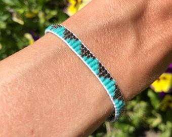 Turquoise hand-woven beaded bangle/Loom beaded bracelet/Bohemian festival Gypsy Ibiza style native inspired minimalistic bracelet