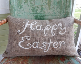 Happy Easter Throw Pillow / Burlap Accent Pillow / Spring Easter Decor