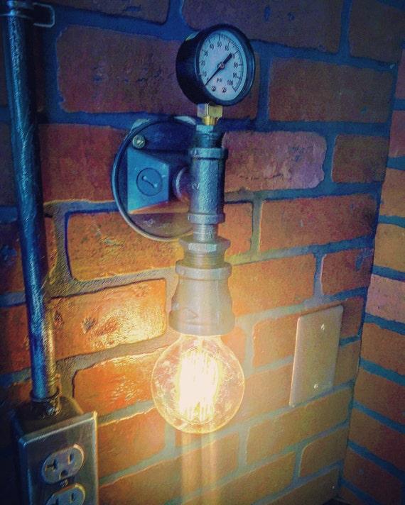 Steampunk Streamline Pressure Gauge Wall Sconce Industrial