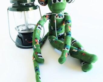 Camper Sock Monkey - RV Sock Monkey - Camping Sock Monkey - Sock Monkey - Green Sock Monkey - Traveling - RV Gift - Camping Gift - Camping