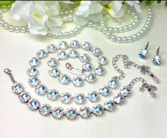Swarovski Crystal 12MM White Patina Necklace, Bracelet,and Earrings- Designer Inspired - Classy & Beautiful Bridal Necklace! - FREE SHIPPING