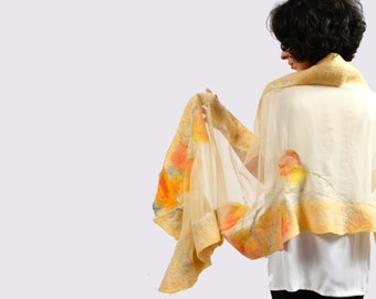 Beige with shadow of yellow, orange nuno felted shawl, scarf, scarves. Unique design clothing. Natural silk, merino wool, handmade
