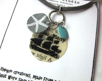 Nautical Book Page Charm Necklace, Book Jewelery, Books Gift, Book Lover Literary Jewelry