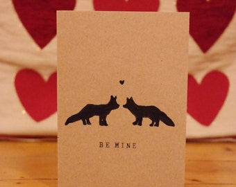 Valentine's Card. 'Be Mine' Handmade Brown Kraft Valentine/Anniversary/Occasion Card, with Fox & Heart design.