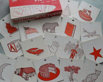 Vintage Ideal School Supply Rhyming Picture Cards for Peg Boards