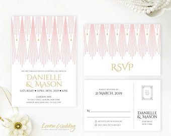 Pink and gold wedding Invitation printed on white shimmer paper | Discount wedding invitations and RSVP postcards