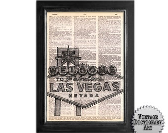 Welcome to Las Vegas - printed on Vintage Dictionary Paper - 8x10.5
