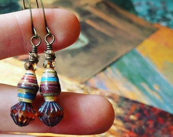 Quilt Art Book Paper Bead Earrings Color Stacks