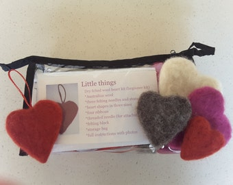 Heart dry wool felting kit, Australian wool, no sewing, suit adults & teenagers , complete craft kit