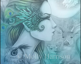 Spirit of Artemis 2 - Greek Goddess - Diana - Fantasy Art Giclee Print by Molly Harrison 9 x 12