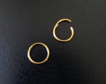 """14g 3/8"""" (10mm) Gold Titanium anodized 316L Steel Seamless Hinged Ring Hoop body jewelry ear eyebrow septum nose smiley helix lip"""