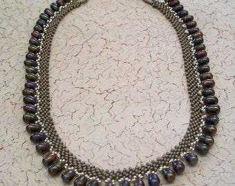 Pewter Beadwoven Collar Necklace with Silver Freshwater Pearls by Carol Wilson of Je t'adorn