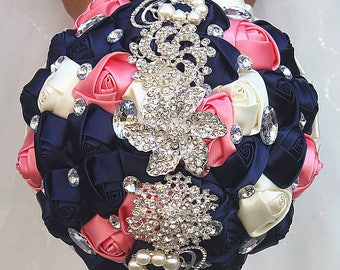Navy and Coral Satin Rose Bouquet Ribbon Rose Bouquet Crystal Rhinestone Bridal Bouquet Bridesmaid Bouquet Brooch Bouquet Wedding Flowers