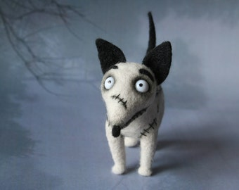 Sparky Frankenweenie. Needle Felted Sparky. Frankenstein Tim Burton. Gray Dog. Big Eyes. Soft Sculpture.  Miniature.Made to order.