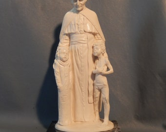 RARE Father Flanagan A SANTINI Sculpture Pope Boystown Marble Italy Poor Boys  ~Free Shipping