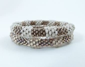 Baubled Bead Rope Bangle Set, Bead Crochet Rope Bracelet Pair in Taupe and Bronze Neutrals - Item 1613-1614
