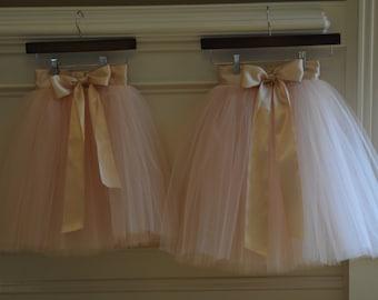 Blush color tutu,Girls Tulle skirts, flower girl tutu,Soft Tulle,Flower Girls CUSTOM sewn tutus for Girls,