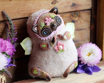 plush cat toy Siamese cat doll ooak butterfly toy fantasy creature doll winged cat kitty plush toy stuffed cat doll