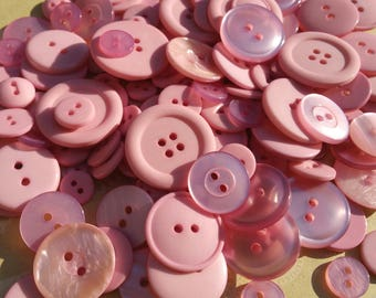 Light Pink Buttons - Bulk Sewing Button - Baby Pink Buttons - 100 Buttons - Tickled Pink