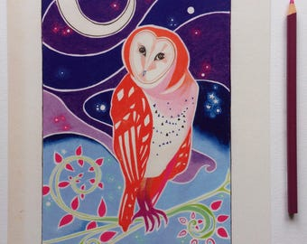 The Barn Owl Art Print | A4 art print | bird art | poster print