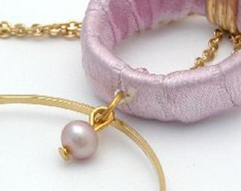 Mother Gift For women, Pink Pearl Necklace, Gold Double Hoop Pearl Fabric Necklace, Women's Jewelry, Fabric Jewelry, Mother Gift for Her