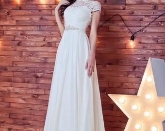 Empire Waist Wedding dress, chiffon wedding dress,  Greece dress with  sleeves,