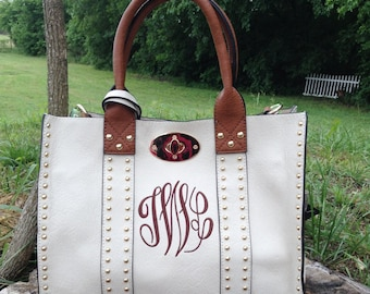 Beautiful Studded Medium Size Purse~ Cream Studded Purse ~ Double Bag~ Crossbody Strap