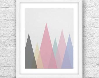 Scandinavian Art , Mountains Art , Mountains Wall Art , Scandinavian Design , Mountains Wall Decor, Printable Art , Scandinavian Mountains