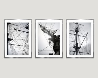 Nautical wall art set of 3 prints Sailboat art minimalist Large Black and white photography set, Mens gift, Large wall art Vertical Triptych