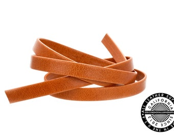 "Genuine Leather Strap, Folded Pumpkin Orange, 6mm (1/4"" inch) 3 yards (108"" inches)  (1716)"