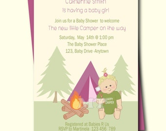 Outdoor Camping Baby Shower Invitations- Smores Baby Shower Invite- Happy Camper Girls Printable Invitation- Baby Sprinkle
