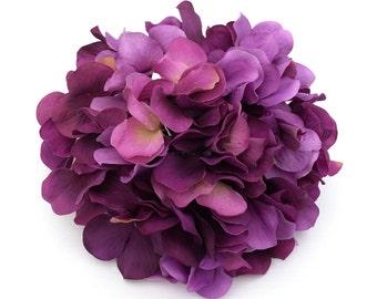 One Hydrangea Head - Shades of Purple - Silk Flowers, Hair Accessories, Millinery, Tutu, Artificial Hydrangea, Flower Crown, Wedding Flowers